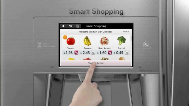 The LCD display on the LG Smart Thinq Fridge