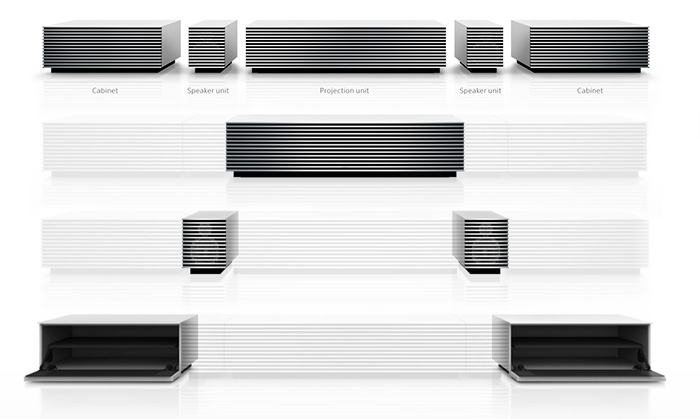 the breakdown of the cabinet of the Sony 4K Ultra Short Throw projector
